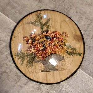 Vintage Wall Art - Dried Round Flower Pictures & Wall Boho Basket